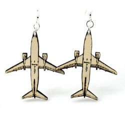 airplane wood earrings