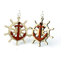 red anchor and boat wheel wood earring
