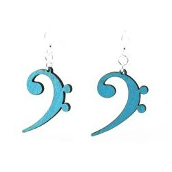 aqua marine bass clef wood earrings