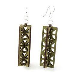 apple green 3d structure wood earrings