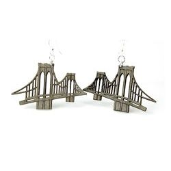 brooklyn bridge wood earrings