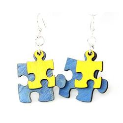 puzzle peace wood earrings