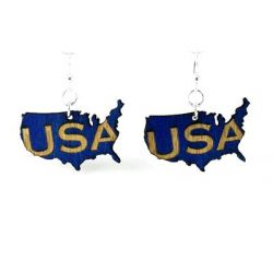 usa country wood earrings