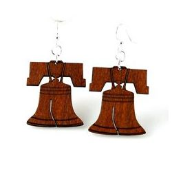 cinnamon liberty bell wood earrings