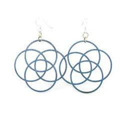 aqua marine four circle wood earrings