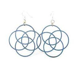 aqua marine four circle wood earrings
