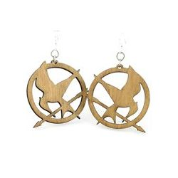 tan mocking jay wood earrings
