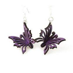 purple 3d butterfly wood earrings