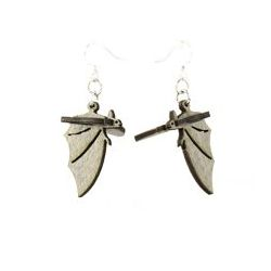 gray bat wood earrings