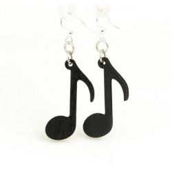 black music note wood earrings