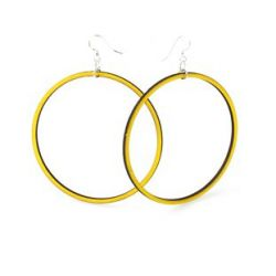 lemon yellow large circle wood earrings