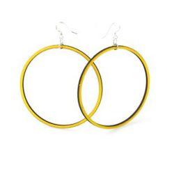 lemon yellow large circle wood earrings