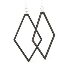 black satin large diamond wood earrings