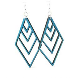teal upside down fountain pyramid wood earrings