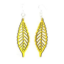 lemon yellow autumn leaf wood earrings