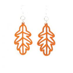 tangerine fall leaf wood earrings