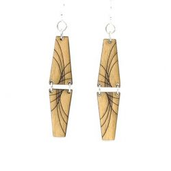 black mirror pyramid wood earrings