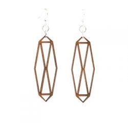 cinnamon barn door wood earrings