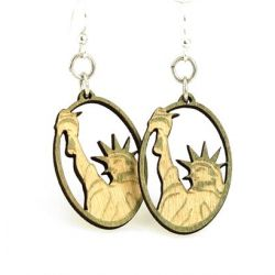 Statue of Liberty Oval Wood Earrings