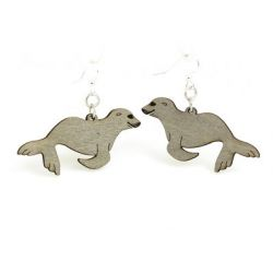 gray sea lion wood earrings