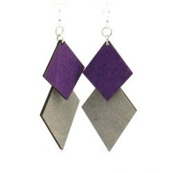 diamond cut wood earrings