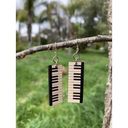 piano key wood earrings