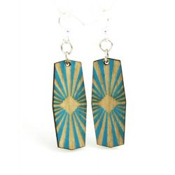 aqua marine starburst wood earrings