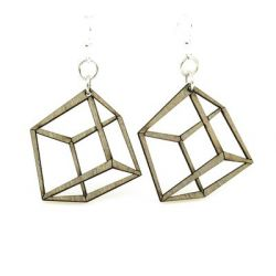 apple green 3d cube wood earrings