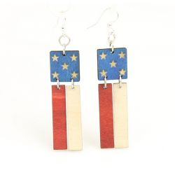 american flag wood earrings