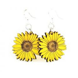 detailed sunflower wood earrings