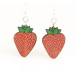 strawberry wood earrings