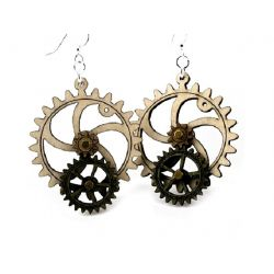 kinetic gear wood earring