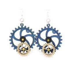 kinetic gear wood earrings