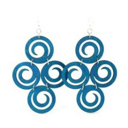 royal blue circles of spirals wood earrings