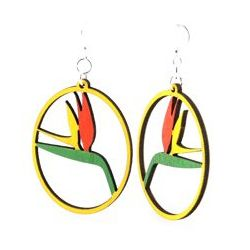 Birds of Paradise Wood Earrings