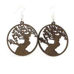Brown Bonsai Tree Wood Earrings