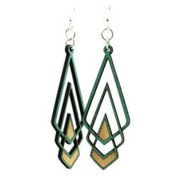 Teal chevron Deco wood earrings