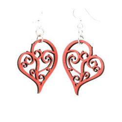 Tangerine Heart in vines wood earrings