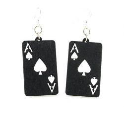 Black ace of spade wood earrings