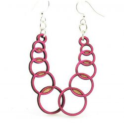 Cherry Red Venn Circles Earrings