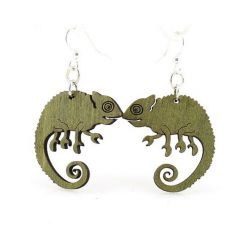 green chameleon wood earrings