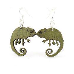 green chameleon wood earrings