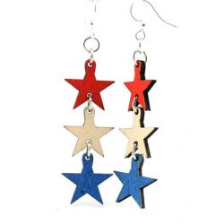 4th of july star wood earrings