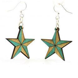 Teal nautical star wood earrings