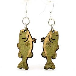 Bass Fish Wood Earrings