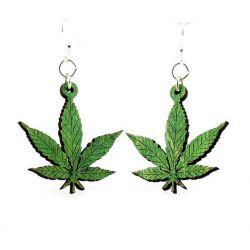 hemp leave wood earrings