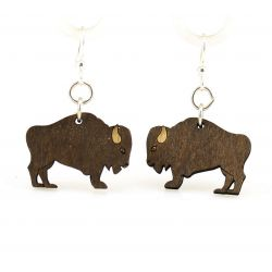 Brown buffalo wood earrings