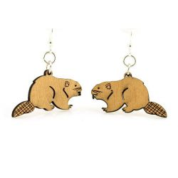 Beaver wood earrings