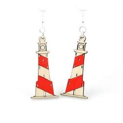 lighthouse wood earrings