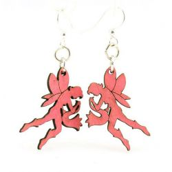 Pink female fairy wood earrings